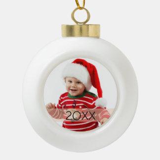 Kundenspezifische Foto-Jahr-Verzierung Keramik Kugel-Ornament