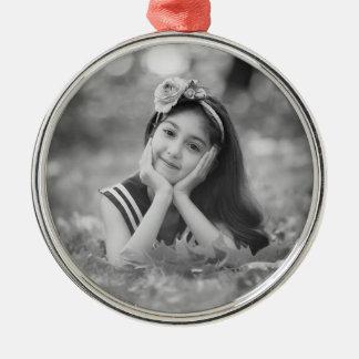 Kundenspezifische Foto-Weihnachtsverzierung Silbernes Ornament