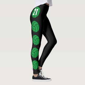 Kundenspezifische grüne Volleyball-Kompression Leggings
