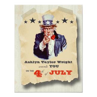 Kundenspezifische Hipster-Unabhängigkeitstag-Feier 10,8 X 14 Cm Einladungskarte