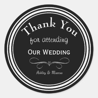 Kundenspezifische Hochzeit danken Ihnen ringsum Runder Aufkleber