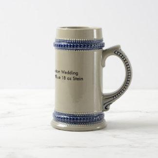 Kundenspezifische Hochzeit graues/blaues 18oz Bierkrug