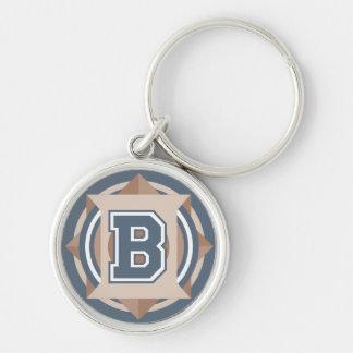 Kundenspezifische Initiale des Silberfarbener Runder Schlüsselanhänger