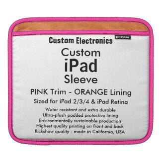 Kundenspezifische iPad Hülse - horizontal (Rosa u. iPad Sleeve