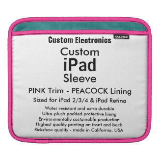 Kundenspezifische iPad Hülse - horizontal (Rosa u. Sleeves Für iPads