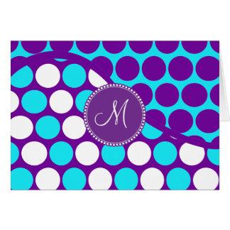 Kundenspezifische Monogramm-Initialen-aquamarine Karte