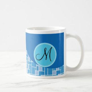 Kundenspezifische Monogramm-Initialen-blaues Tasse