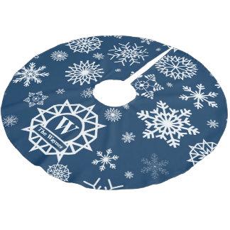 Kundenspezifische Monogramm-Schneeflocke-weißes Polyester Weihnachtsbaumdecke