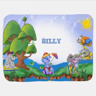 Kundenspezifische niedliche Flusspferd-Kinder Babydecken