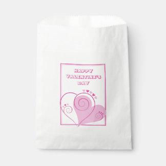 Kundenspezifische rosa Herz-Bevorzugungs-Taschen Geschenktütchen