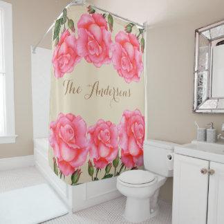 Kundenspezifische rosa Rosen-Blumenkunst Duschvorhang