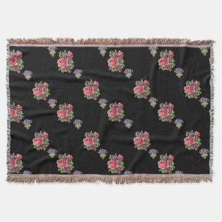 Kundenspezifische rosa Rosen, lila Veilchen Decke