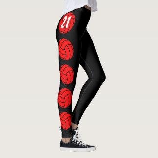 Kundenspezifische rote Volleyball-Kompression Leggings