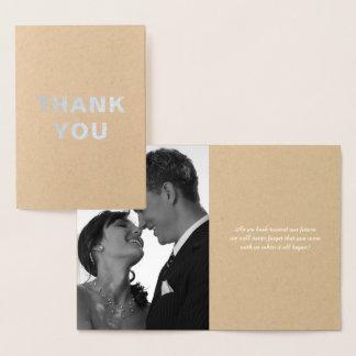 Kundenspezifische silberne Folien-Hochzeit danken Folienkarte