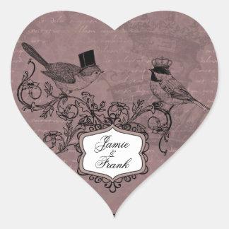 Kundenspezifische Vintage Hochzeits-Liebe-Vogel-He