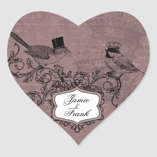 Kundenspezifische Vintage Hochzeits-Liebe-Vogel-He Herzaufkleber