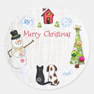 Kundenspezifische Weihnachtshunde-u. Runder Aufkleber