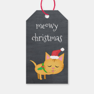 Kundenspezifische Weihnachtskatze auf Geschenkanhänger
