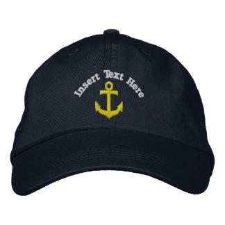 Kundenspezifischer Anker gestickter Hut Bestickte Baseballkappe
