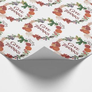 Kundenspezifischer Erntedank gibt Dank-FallWreath Geschenkpapier
