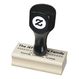 Kundenspezifischer Familienname plus Adresse Gummistempel