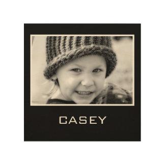 Kundenspezifischer Foto-Namen-Schwarz-Hintergrund Holzleinwände