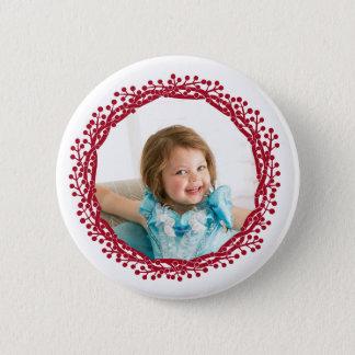 Kundenspezifischer Fotoknopf Weihnachtsbeere Runder Button 5,1 Cm