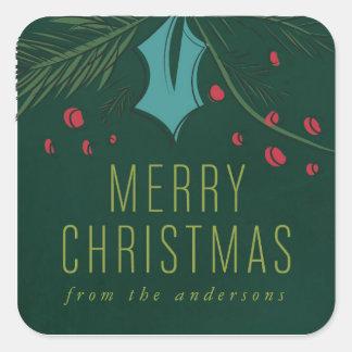 Kundenspezifischer grüner frohe Weihnacht-mit Quadratischer Aufkleber