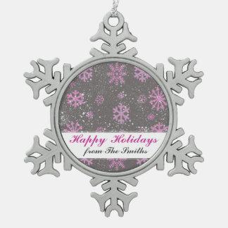Kundenspezifischer Gruß-lila Schneeflocken Zinn-Ornament