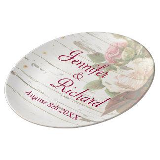 Kundenspezifischer Hochzeitstag des Vintagen Porzellanteller