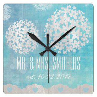 Kundenspezifischer Hochzeitstag-quadratische mit Uhr