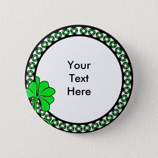 Kundenspezifischer irischer Kleeblatt-Kreis KRW Runder Button 5,1 Cm