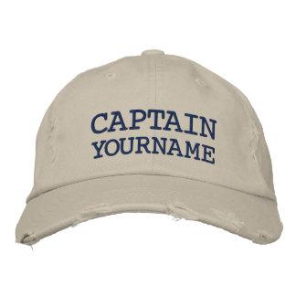 Kundenspezifischer Kapitän-oder Boots-Name Bestickte Kappe