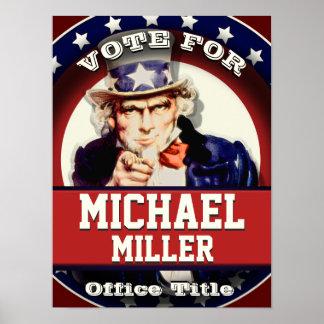 Kundenspezifischer patriotischer Uncle Sam Poster