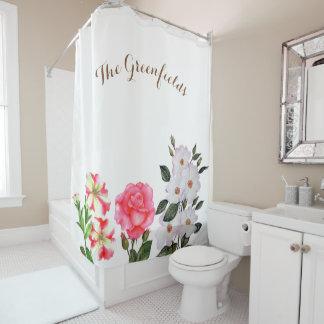 Kundenspezifischer rosa Blumen-Duschvorhang Duschvorhang