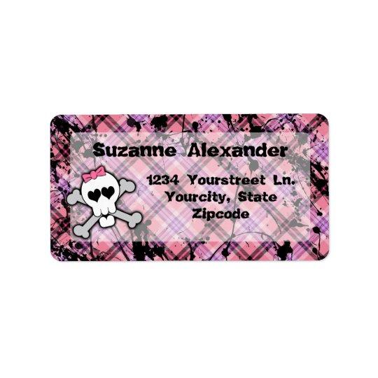 Kundenspezifischer rosa und schwarzer Knochen-Aufk Adressaufkleber