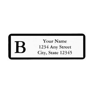 Kundenspezifischer schwarzer mit Monogramm Rücksende Aufkleber