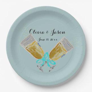 Kundenspezifischer Wedding Champagne-Toast Pappteller