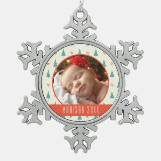 Kundenspezifischer Weihnachtsbaum u. Schneeflocken Schneeflocken Zinn-Ornament