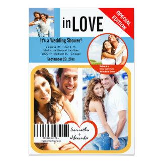 Kundenspezifischer Zeitschriften-Art-Polterabend 12,7 X 17,8 Cm Einladungskarte