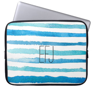 Kundenspezifisches blaues Aquarell Stripes Laptop Sleeve