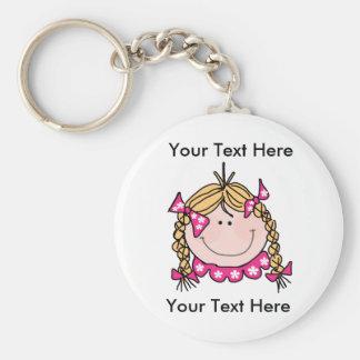 Kundenspezifisches blondes Haar-Mädchen Keychain Schlüsselanhänger