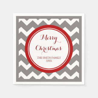 Kundenspezifisches Familien-Weihnachtsrote graue Serviette
