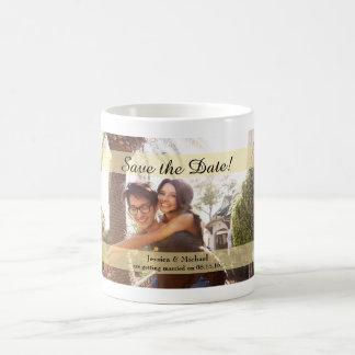 Kundenspezifisches Foto, das Save the Date Wedding Kaffeetasse