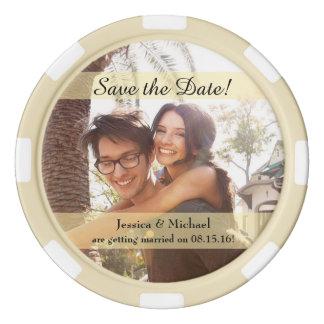 Kundenspezifisches Foto, das Save the Date Wedding Poker Chips Set