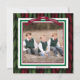 Custom Photo Happy Holidays Knit Red and Green
