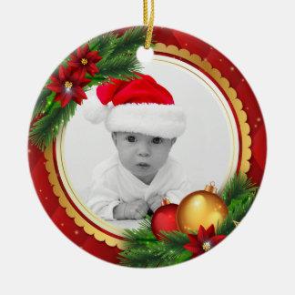Kundenspezifisches Foto-klassisches Weihnachten Rundes Keramik Ornament