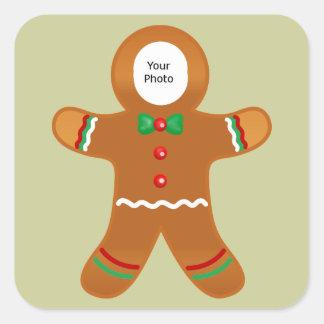 Kundenspezifisches Foto-Lebkuchen-Mann-Weihnachten Quadratischer Aufkleber