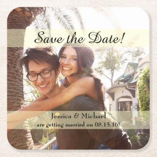 Kundenspezifisches Foto Save the Date Rechteckiger Pappuntersetzer
