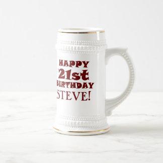 Kundenspezifisches glückliches 21. bierglas